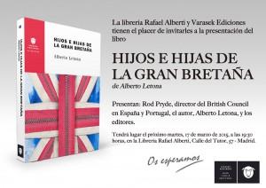 """Presentación de """"Hijos e hijas de la Gran Bretaña"""", de Alberto Letona, en la librería Rafael Alberti"""